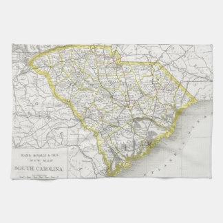 Mapa del vintage de Carolina del Sur (1889) Toalla De Cocina