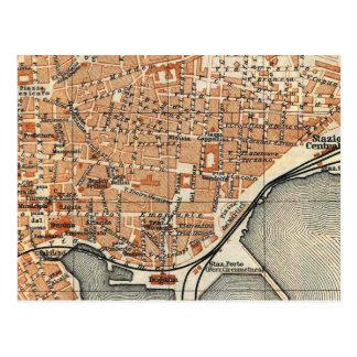 Mapa del vintage de Catania Italia (1905) Tarjeta Postal