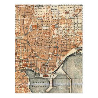 Mapa del vintage de Catania Italia (1905) Tarjetas Postales