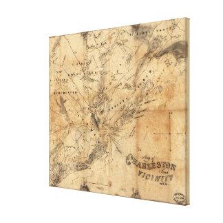 Mapa del vintage de Charleston Carolina del Sur Lona Estirada Galerias