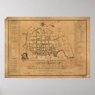 Mapa del vintage de Charleston Carolina del Sur Póster