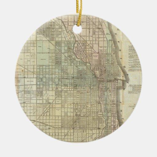 Mapa del vintage de Chicago (1857) Adorno Redondo De Cerámica
