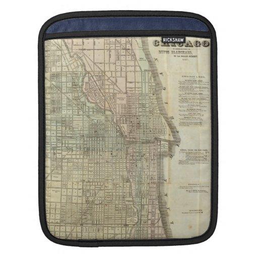 Mapa del vintage de Chicago (1857) Fundas Para iPads