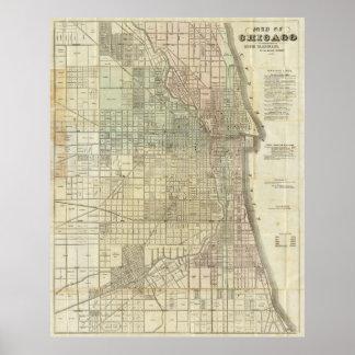 Mapa del vintage de Chicago (1857) Póster