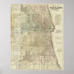 Mapa del vintage de Chicago (1857) Posters
