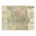Mapa del vintage de Chicago (1857) Tarjeta Postal