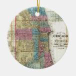 Mapa del vintage de Chicago (1869) Adorno Navideño Redondo De Cerámica