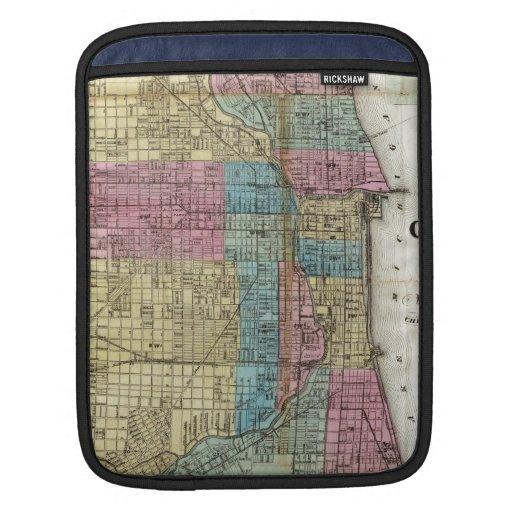 Mapa del vintage de Chicago (1869) Funda Para iPads