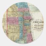 Mapa del vintage de Chicago (1869) Pegatina