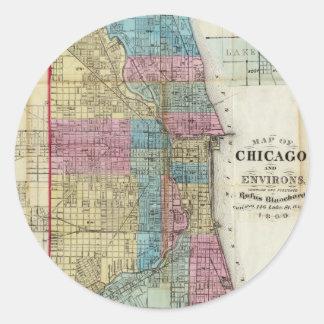 Mapa del vintage de Chicago 1869 Pegatina