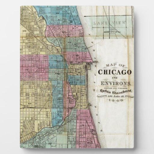Mapa del vintage de Chicago (1869) Placas Para Mostrar