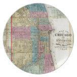Mapa del vintage de Chicago (1869) Platos Para Fiestas