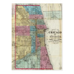 Mapa del vintage de Chicago (1869) Postal