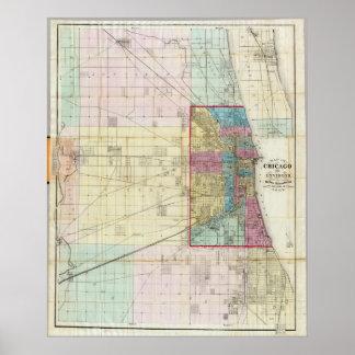 Mapa del vintage de Chicago (1869) Póster