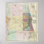 Mapa del vintage de Chicago (1869) Posters