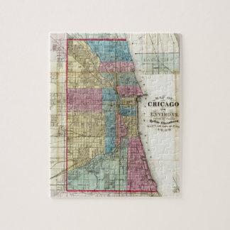Mapa del vintage de Chicago (1869) Puzzles