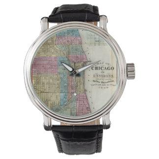 Mapa del vintage de Chicago (1869) Relojes De Pulsera
