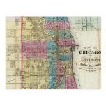 Mapa del vintage de Chicago (1869) Tarjetas Postales