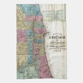 Mapa del vintage de Chicago (1869) Toalla De Mano