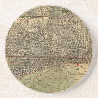 Mapa del vintage de Chicago (1892) Posavasos Para Bebidas