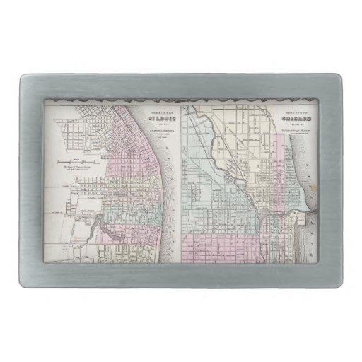 Mapa del vintage de Chicago y de St. Louis (1855) Hebillas Cinturon