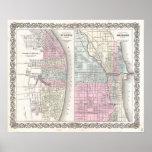 Mapa del vintage de Chicago y de St. Louis (1855) Posters