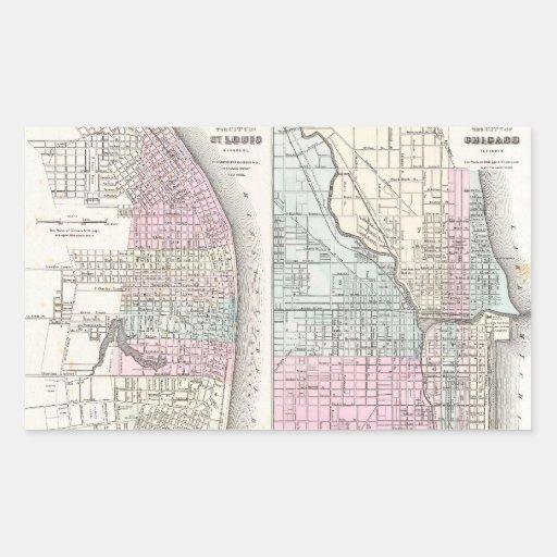 Mapa del vintage de Chicago y de St. Louis (1855) Pegatina Rectangular