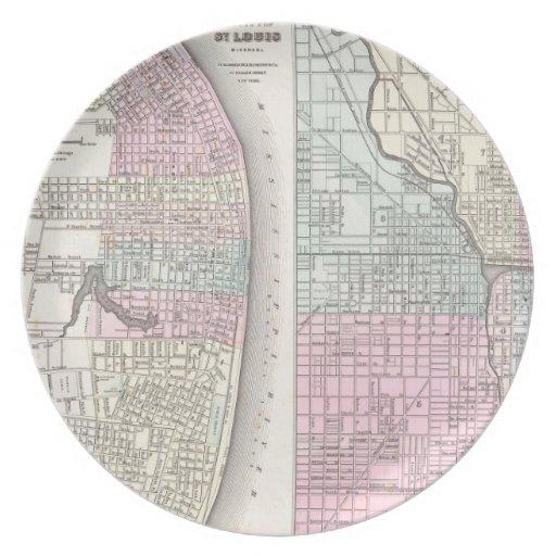 Mapa del vintage de Chicago y de St. Louis (1855) Plato De Comida