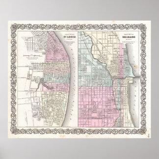 Mapa del vintage de Chicago y de St. Louis (1855) Póster