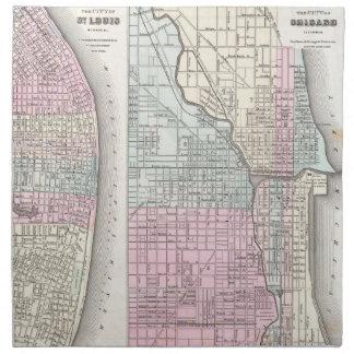 Mapa del vintage de Chicago y de St. Louis (1855) Servilletas Imprimidas
