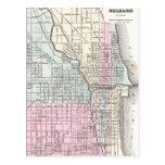 Mapa del vintage de Chicago y de St. Louis (1855) Postal