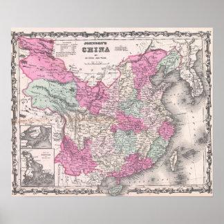 Mapa del vintage de China (1862) Póster