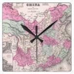 Mapa del vintage de China (1862) Relojes