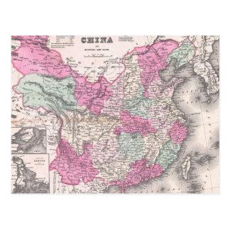 Mapa del vintage de China (1862) Postal