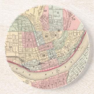 Mapa del vintage de Cincinnati (1780) Posavasos Diseño