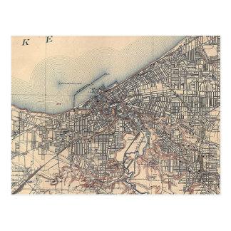 Mapa del vintage de Cleveland (1904) Postales