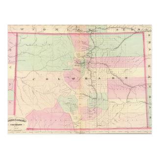 Mapa del vintage de Colorado (1874) Postales