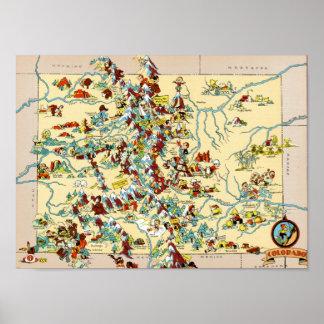 Mapa del vintage de Colorado Póster
