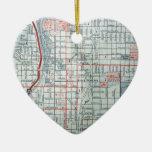 Mapa del vintage de COLORADO SPRINGS Adorno Navideño De Cerámica En Forma De Corazón