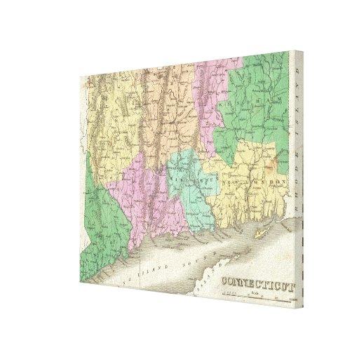Mapa del vintage de Connecticut (1827) Lienzo Envuelto Para Galerias