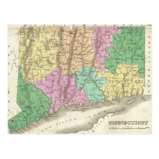 Mapa del vintage de Connecticut (1827) Postales