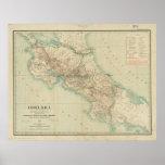 Mapa del vintage de Costa Rica (1903) Póster
