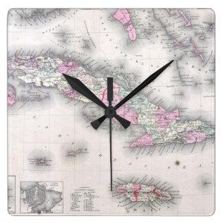 Mapa del vintage de Cuba (1861) Reloj