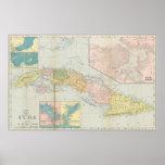 Mapa del vintage de Cuba (1898) Póster