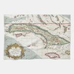 Mapa del vintage de Cuba y de Jamaica (1763) Toalla