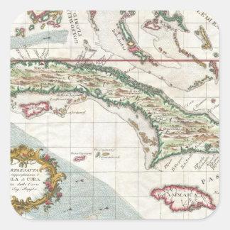 Mapa del vintage de Cuba y de Jamaica (1763) Pegatina Cuadrada