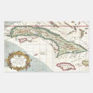 Mapa del vintage de Cuba y de Jamaica (1763) Pegatina Rectangular