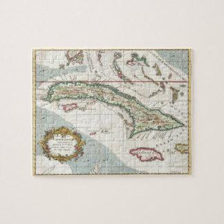 Mapa del vintage de Cuba y de Jamaica (1763) Puzzles Con Fotos