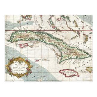 Mapa del vintage de Cuba y de Jamaica (1763) Postal