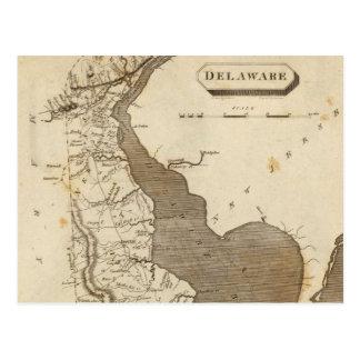 Mapa del vintage de Delaware (1804) Postal